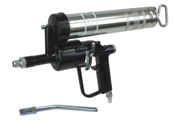 Einhand-Druckluft-Fettpresse DF500 mit Düsenrohr E4024 + Hydraulikmundstück