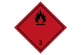 Gefahrzettel Klasse 3, 100 x 100 mm