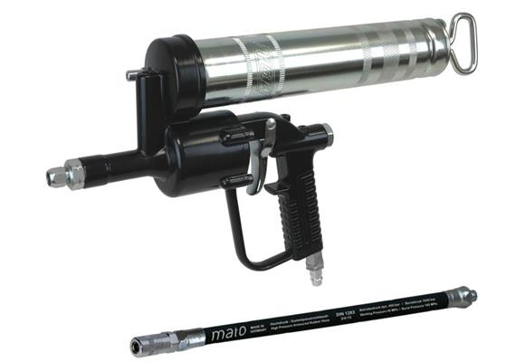 MATO Einhand-Druckluft-Fettpresse DF501 mit Gummipanzerschlauch RH30-C
