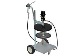 pneuMATO 55 fahrbar für 18/20 kg Gebinde mit Innen-ø 265-285 mm, 6.5 m Abschmierschlauch