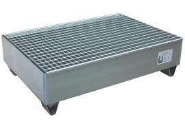 Bac de rétention zingué, pour 2 fûts de 200 litres (1200 x 8100 x 325 mm)