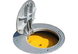 Couvercle de regard en acier zingué à chaud avec anneau Griteba cap®100-N-2-T