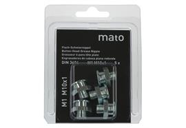 Graisseurs à tête plate M1 M10x1 - ø16 mm - 6-pans 17, acier zingué en blister - UV à 5 pc