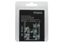 Graisseurs à tête plate M1 M8x1 - ø16 mm - 6-pans 17, acier zingué en blister - UV à 5 pc