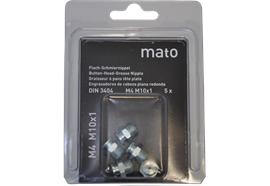 Graisseurs à tête plate M4 M10x1- ø10 mm - 6-pans 11, acier zingué en blister - UV à 10 pc